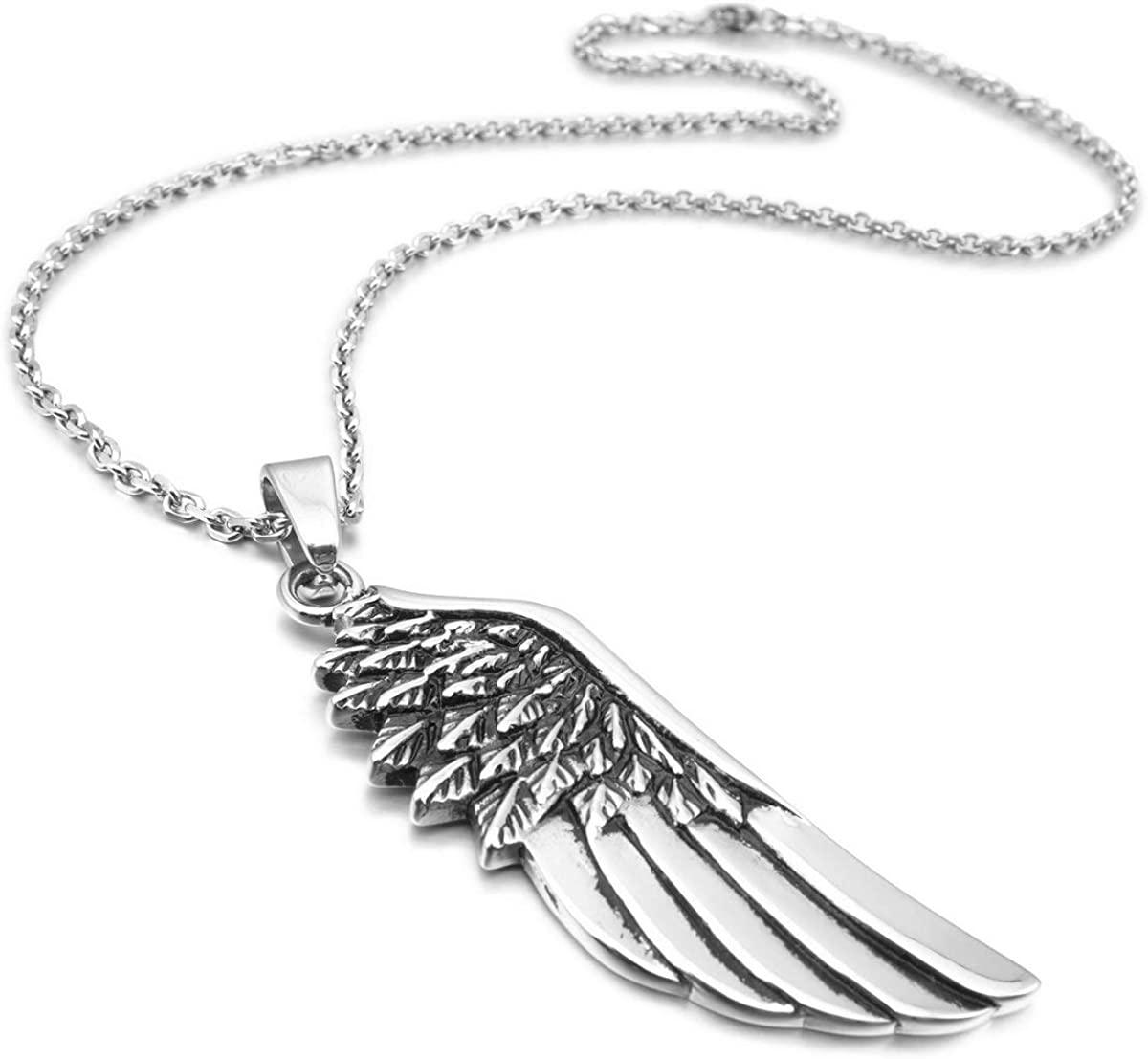 Sterlingsilber Puffy Konkav Feder Engel Flügel Blatt Halskette Verpackt