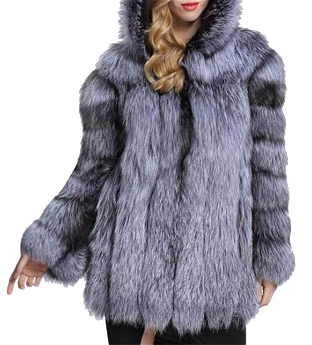 1 XiaoTianXinWomen XTX Women Longline Hoodie Fluffy Slim Faux Fur Coat Cardigan Outerwear Overcoat