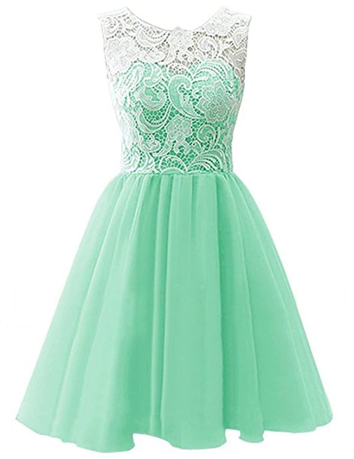 Mint YIRENWANSHA 2018 Short Homecoming Dress for Women Manual Lace Knee Length Formal Prom Gown YJW5