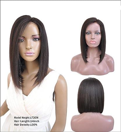 Remeehi brasileño Cabello humano Lace Front Peluca Bob con Side Bangs peluca de cabello humano tablón