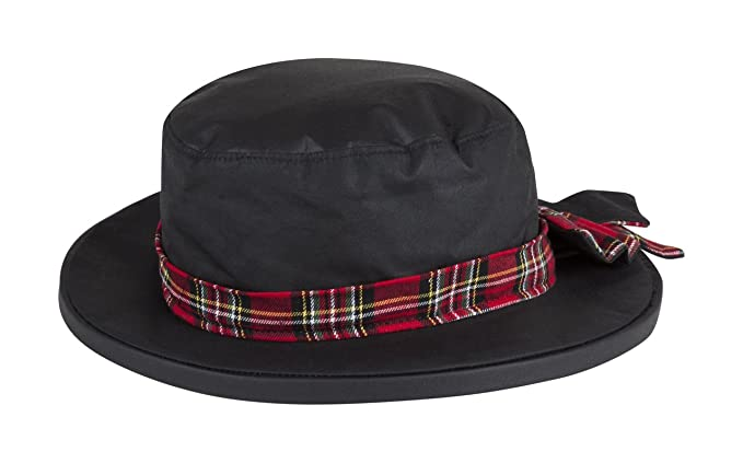 7af640ecb86 Portmann Ladies Thelma Waterproof Wax Rain Hat Hand Made in UK with Bow   Amazon.co.uk  Clothing