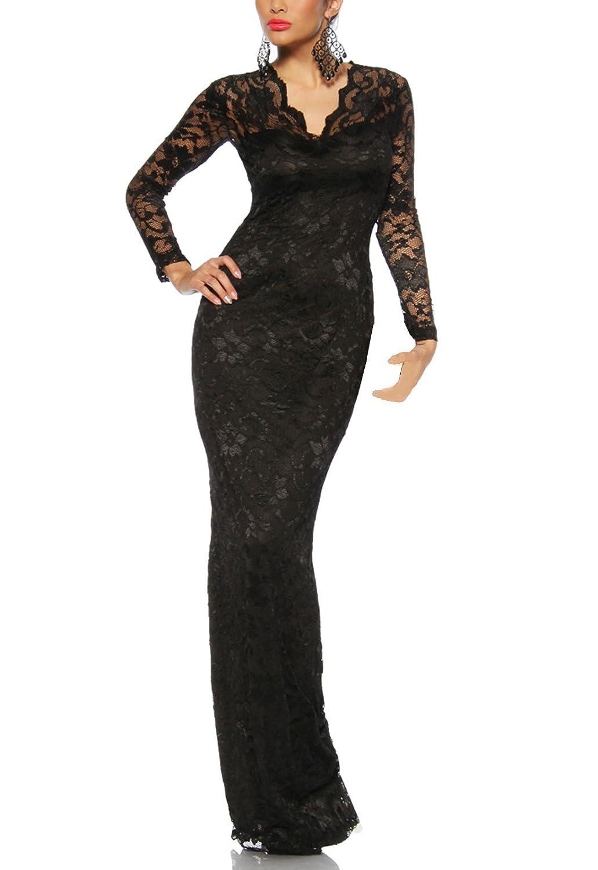 Long evening dress dress Lace Dress with Lace and V-Ausschnitt A 13105-1