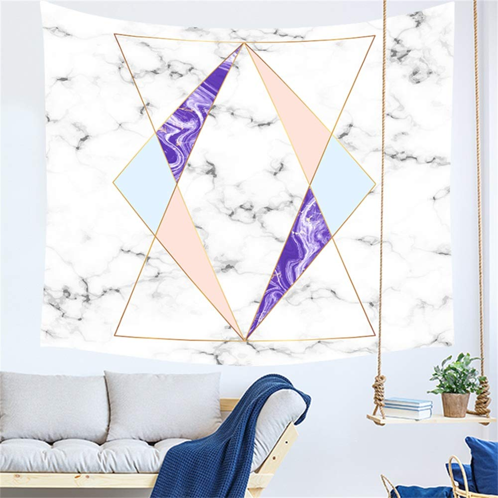 Wall Tapestry Marble Grain Ceramic Effect Geometric Triangle Purple Fall Winter Home Decor Tapestry Wall Hanging Decoration for Living Room Bedroom Dorm Micro Fiber Peach Superior Durable Material