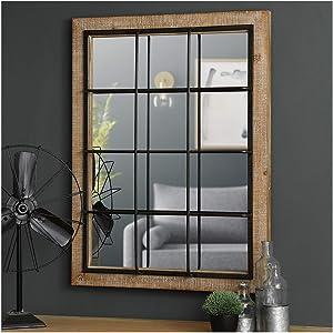 """Glitzhome 31.5"""" H Farmhouse Wooden/Metal Windowpane Wall Mirror"""