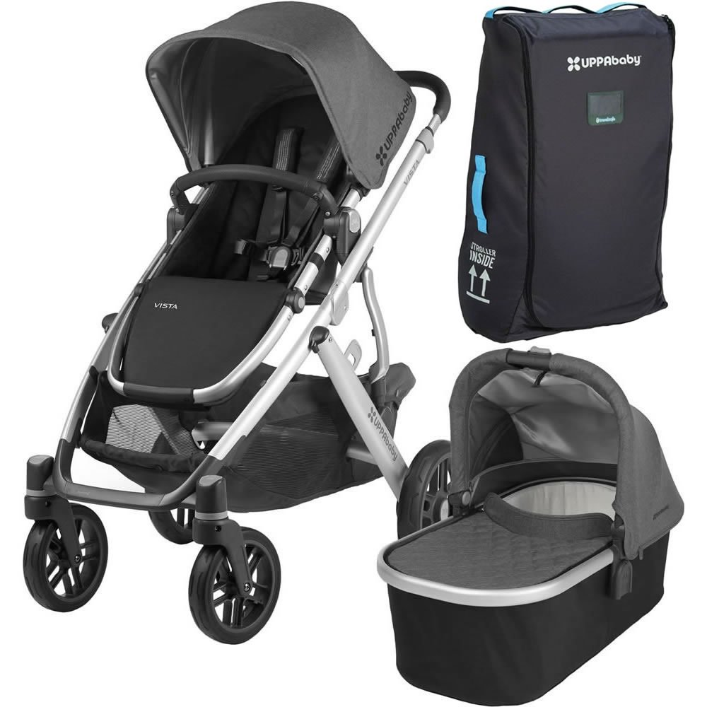 2018 Uppa Baby Vista Stroller   Jordan (Charcoal Melange/Silver/Black Leather) + Vista Travel Bag by Upp Ababy