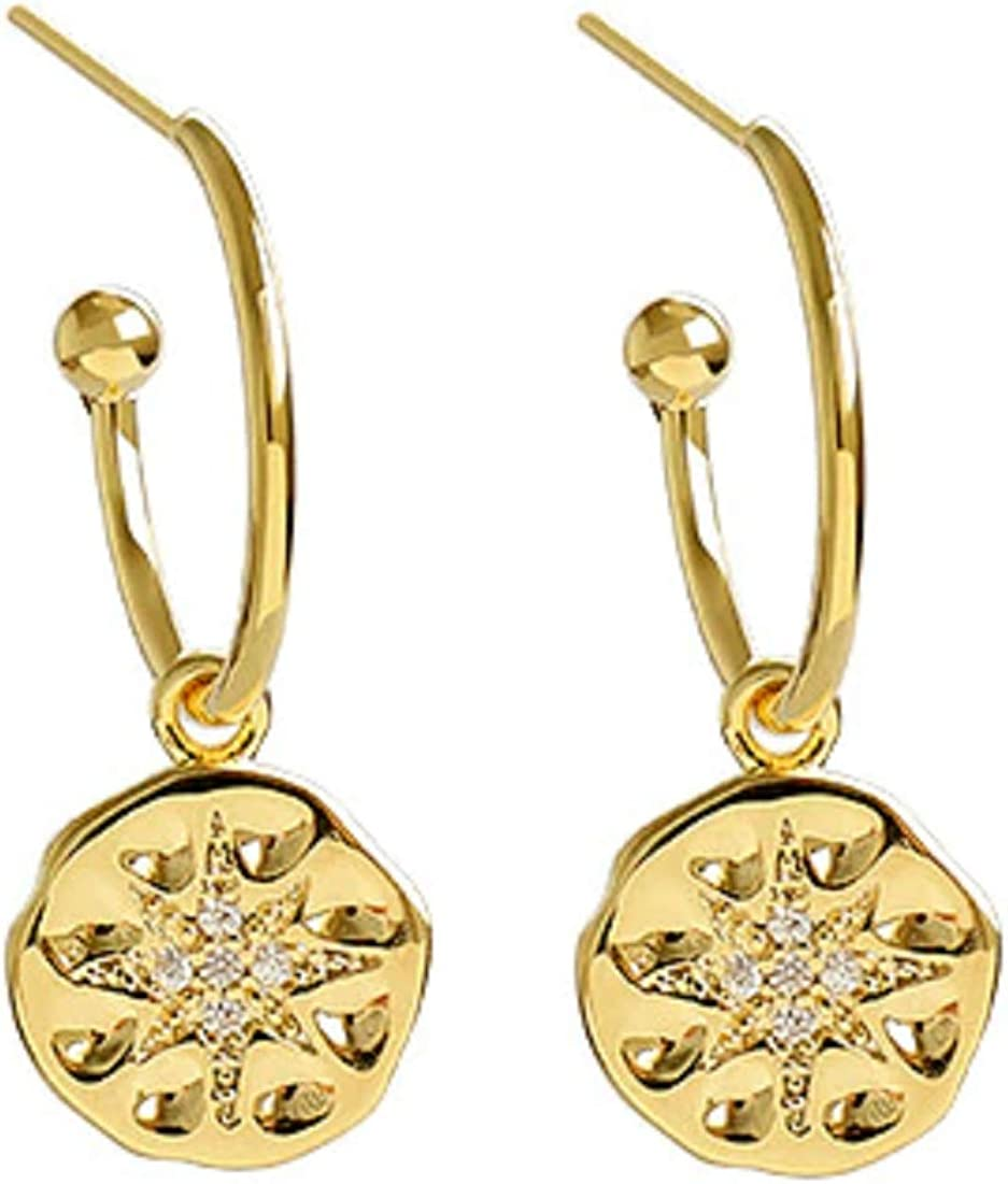 bijouxdemylene - Pendientes de aro chapados en Oro para Mujer o niña, con una Piedra calcedonia Verde Agua Totalmente facetada