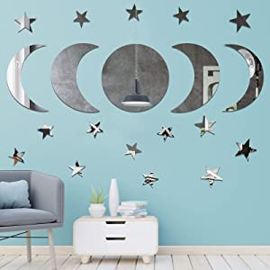 Aneco 20 Pieces Moon Phase Mirror Sticker Bohemian Style Moon Wall Mirror Stickers Self-Adhesive Art Decorations for Bedroom Living Room, Sliver