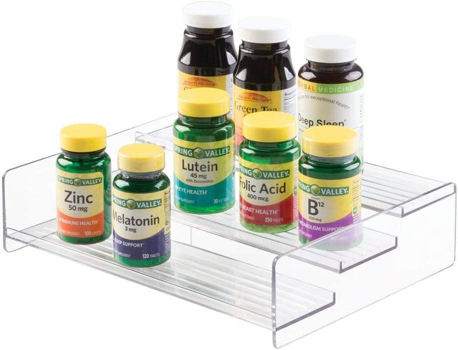 mDesign 3 Tier Bathroom Organizer Shelf - Storage Rack for Vitamins, Supplements, Essential Oils - Versatile Compact Space Saving Holder for Countertops, Cabinets, Shelves - Clear