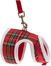 EXPAWLORER Escape Proof Cat Harness with Leash- Christmas Soft Mesh Classic Plaid Cat Harness Vest for Cats and Small Dogs Walking, Red