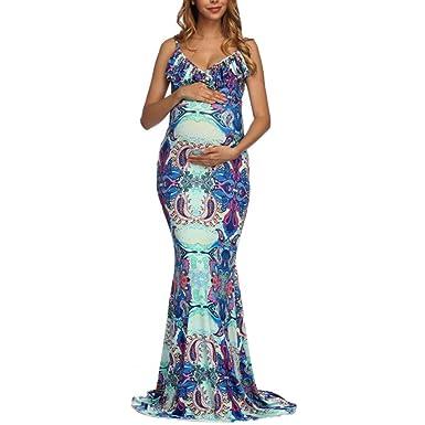K-youth Vestido Embarazada Fotografia Vestido Fiesta Embarazada Vestido para Mujeres Embarazadas Volantes Florales Cuello