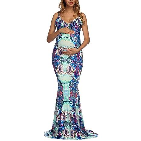 9a336638 K-youth Vestido Embarazada Fotografia Vestido Fiesta Embarazada Vestido  para Mujeres Embarazadas Volantes Florales Cuello