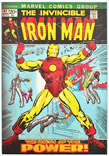 "Edge Home Products Iron Man Retro Comic Book Cover Wood Box Art 19"" X 13"" X 1"", Green"