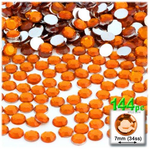 Orange Rhinestone (The Crafts Outlet 144-Piece Flat Back Round Rhinestones, 7mm, Orange)