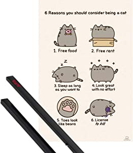 1art1 Pusheen Poster (36x24 inches) The Cat, Free Food, Rent, Sleep in, License to Kill and 1 Set of Black Poster Hangers
