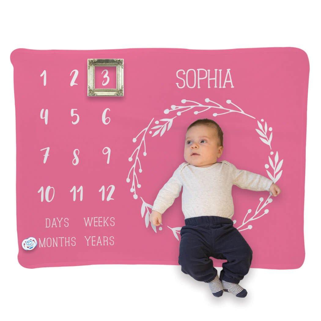 Baby & Infant Blanket | Month Milestones Blanket | Pink