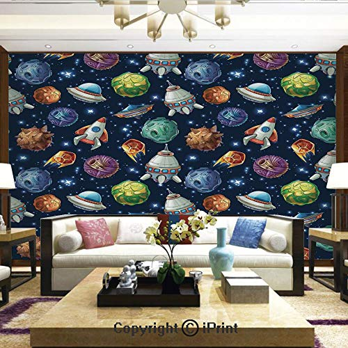 Rocket Ship Trip - Lionpapa_mural Nature Wall Photo Decoration Removable & Reusable Wallpaper,Futuristic Science Fiction Comic Planet Spaceships Androids Rockets UFO Illustration,Home Decor - 100x144 inches