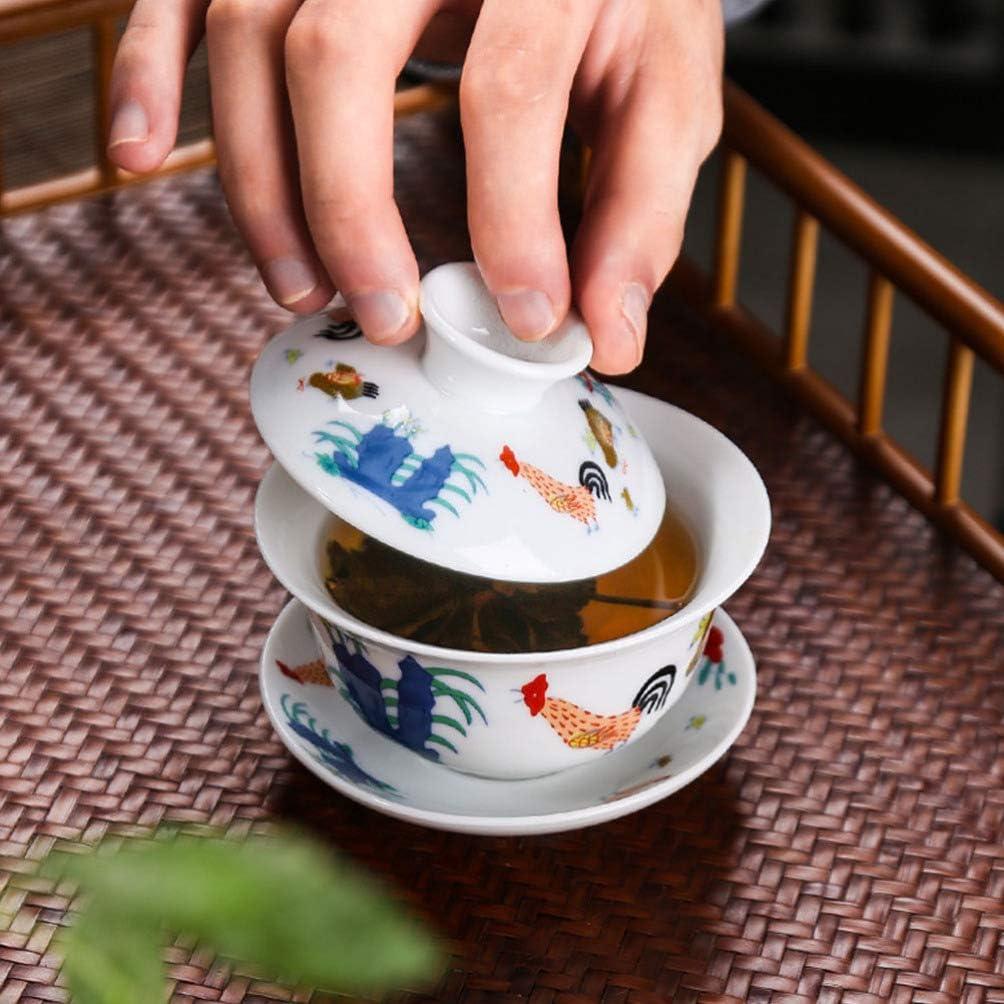 YARNOW Chinois en C/éramique Tasse de Th/é avec Couvercle Et Soucoupe Ensemble De Poulet Porcelaine Tasse De Th/é Kungfu Th/é Bol Tasse pour La Maison Th/é Accessoires Cadeau D Affaires