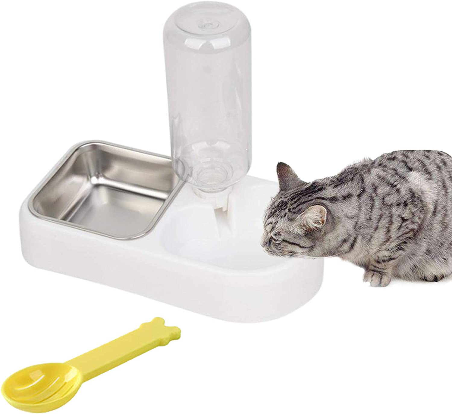 kathson Cage Dual Bowl, Pet Automatic Drinking Fountain Dispenser,Detachable Stainless Steel Feeder Hanging Bowls Dog Food Spoon & Water Feeder Bowls for Small Dogs and Cats