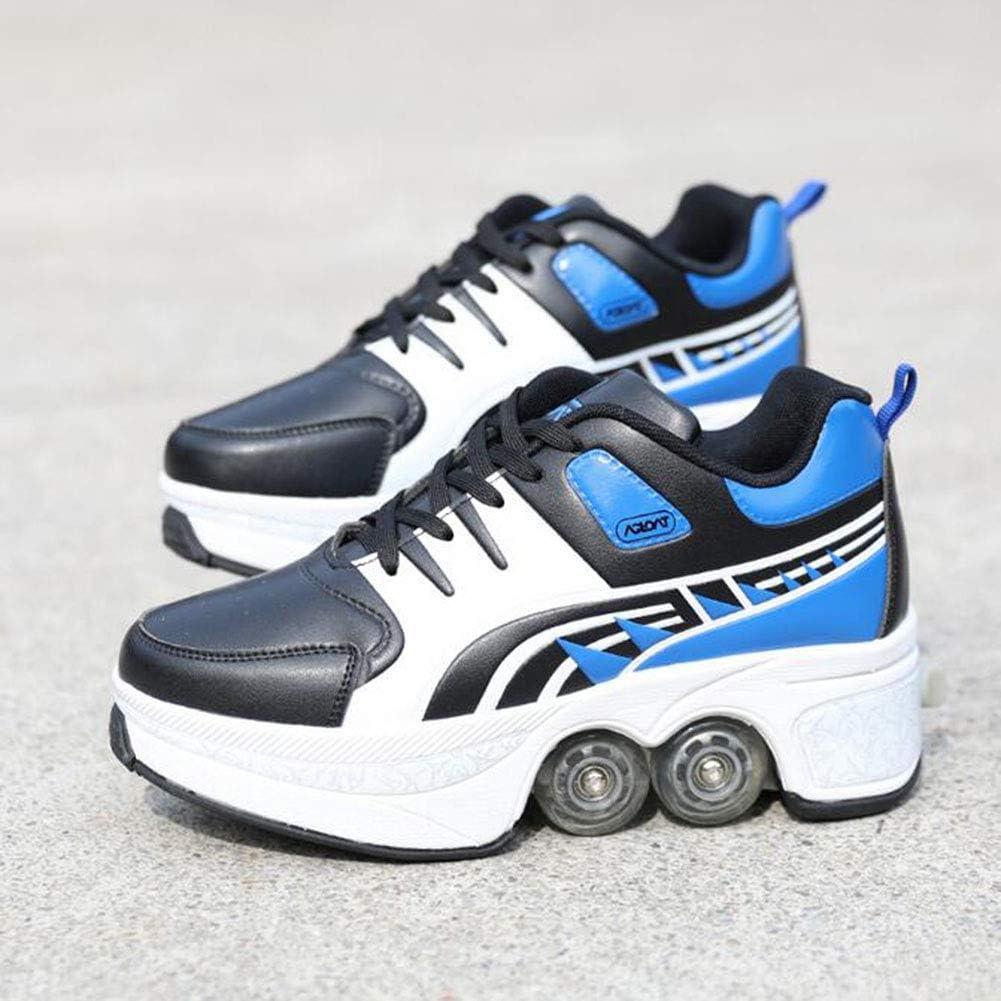 Zapatos Patines Deformación Rodillo Zapato Antideslizante Automático Caminando Zapatos Invisible Respirable Suave Adecuado para Al Aire Libre Deportes Rodillo Zapatos