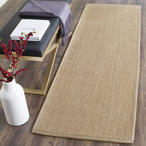 Runner Rug Area Linen (Safavieh Natural Fiber Collection NF141B Tiger Paw Weave Maize and Linen Sisal Runner (2'6