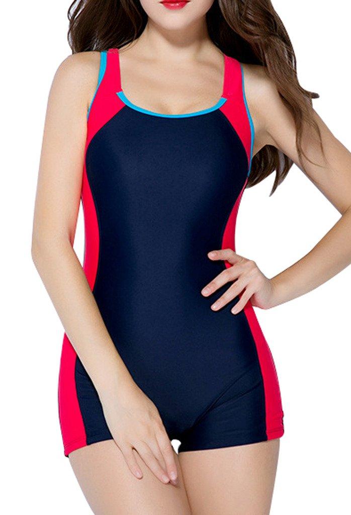 afe50ab472 Galleon - Beautyin Womens One Piece Swimsuit Boyleg Swimwear Sports Boy  Short Swimming Costume Blue Size 4