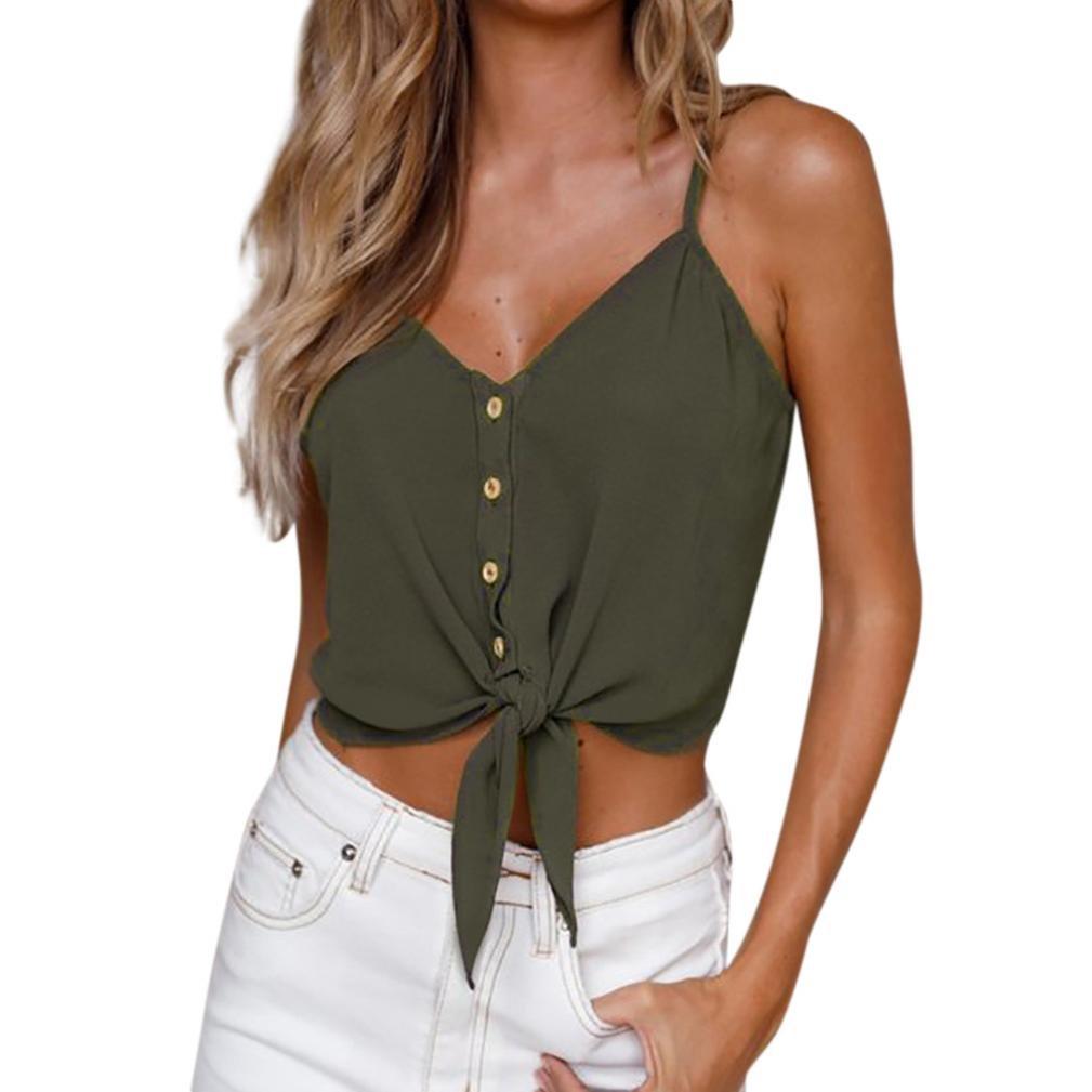 OverDose Damen Sommer Casual Weste Tops Vest Frauen Knopf Ärmellos Crop Top Weste Tank Shirt Bluse Oberteile V-Ausschnitt T Shirt