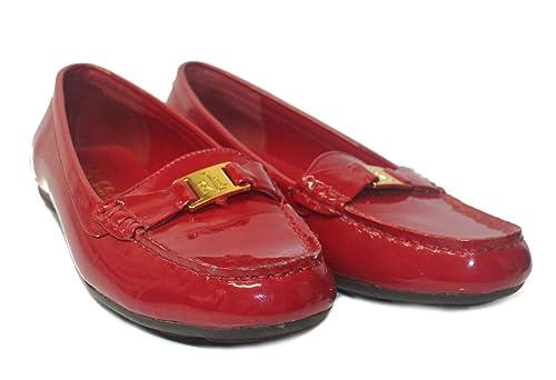 Polo_Ralph Lauren - Mocasines de Charol para Mujer, Color Rojo, Talla 36.5: Amazon.es: Zapatos y complementos