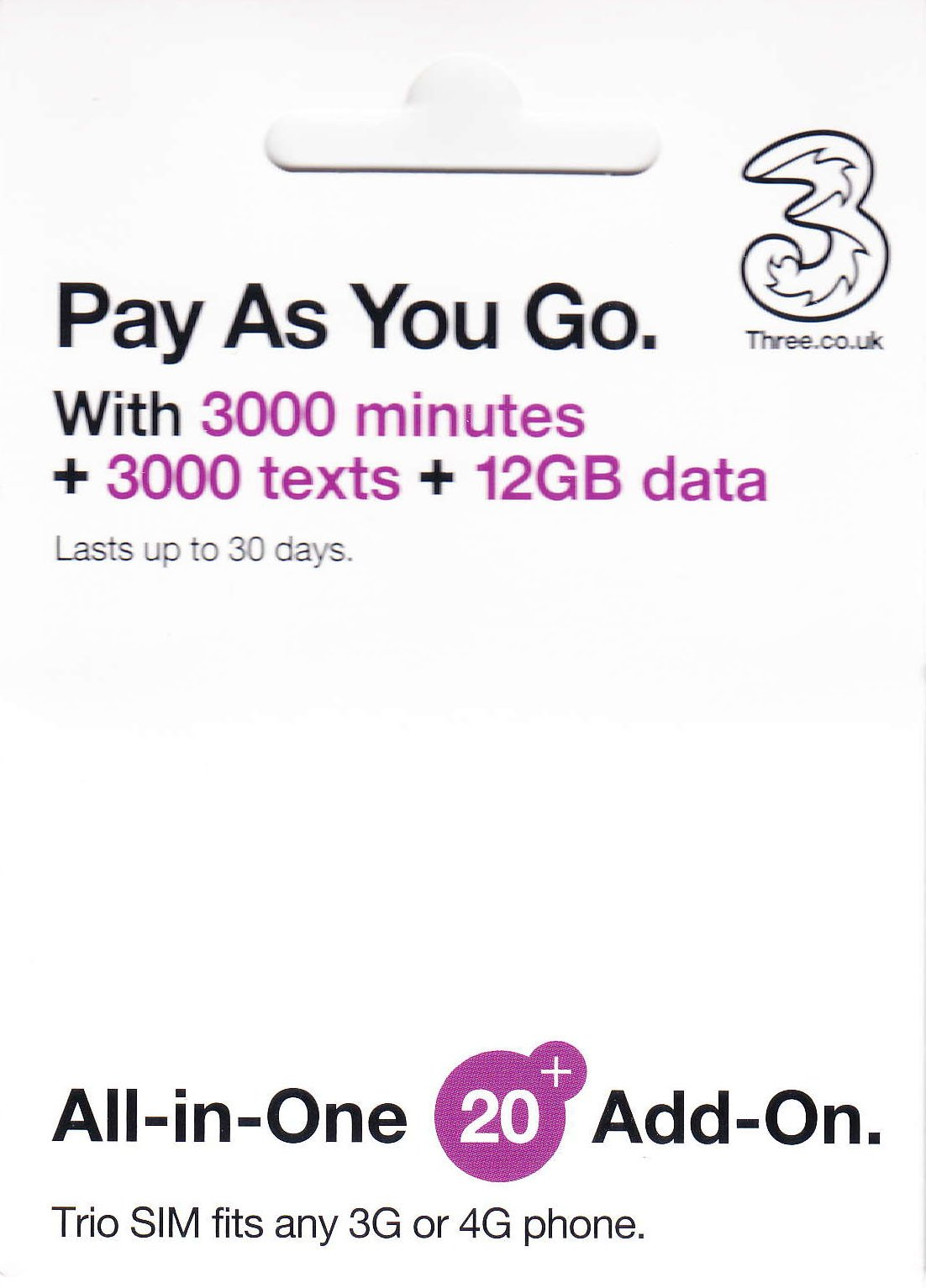 PrePaid Europe (UK THREE) sim card 12GB data+3000 minutes+3000 texts for 30 days with FREE ROAMING / USE in 71 destinations including all European countries by Three Mobile