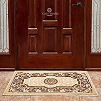 Front Door Mat Welcome Doormat for Home, Indoor, Entrance, Kitchen, Patio, Entry - Waterproof Low Profile Entryway Rug - Natural Jute Backing - Power Loomed in Turkey | 24 x 36, Kingdom Ivory