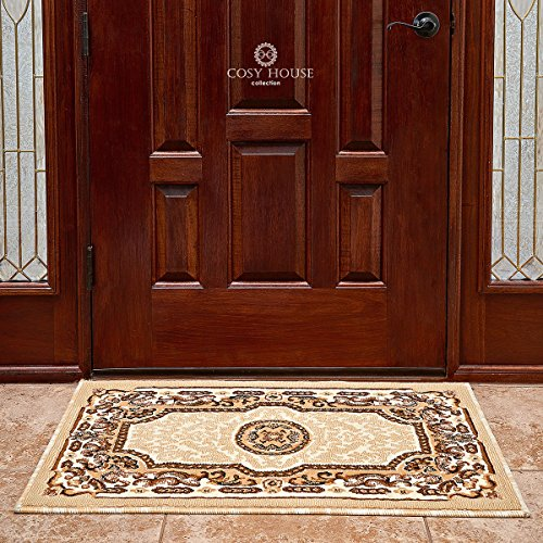 Cosy House Traditional Door Mat for Indoors & Out | Plush High Pile Olefin Polypropylene | Resists Stains, Soil & Fading | Power Loomed in Turkey, 2' x 3' 4', Kingdom Ivory