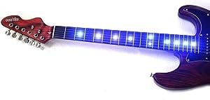 Amazon _ MUSOO ブランドカスタムエレキギターフィンガーボード付LED _ エレキギター _ 楽器 指板 派手