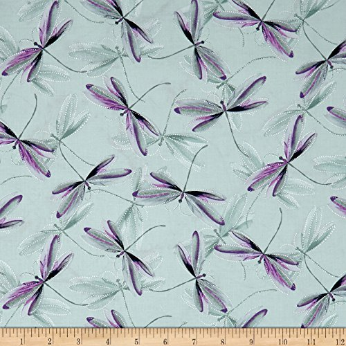 - Benartex 0567542 Kanvas Essence of Pearl Dragonfly Dream Light Sage Metallic Silver Fabric by The Yard,