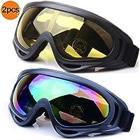 JTENG Occhiali da Sci Snowboard Maschera da Sci Anti Nebbia Protezione Occhiali Protezione UV Goggles Occhiali Anti-Vento Anti-Luce Solare Anti-Sand per Moto Scooter