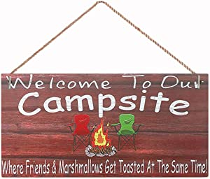 """Friendship Signs For Home Decor Hanging Welcome Signs For Home Decor 10"""" x 5"""" Hanging Wall Art,Campers Rules Camping sign,Home decoration sign(BM147)"""