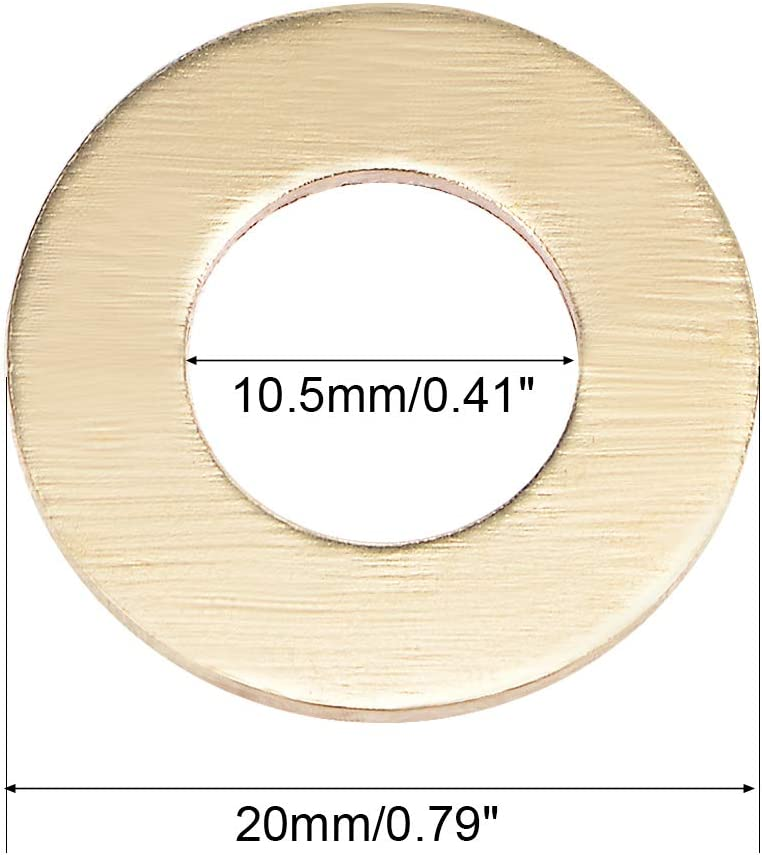 uxcell 10Pcs 27.3mm x 35mm x 1.5mm Copper Flat Washer for Screw Bolt