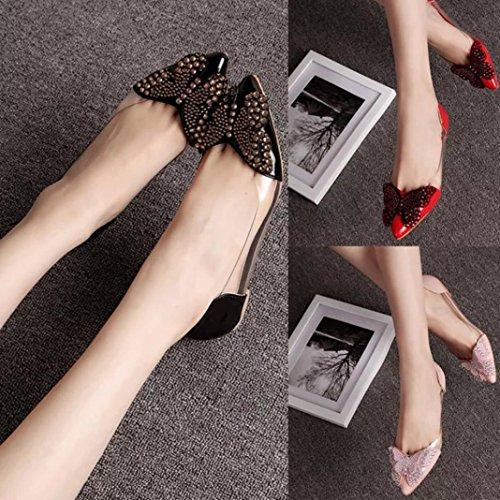 Donna Nere Scarpe Comode Fashion Flat Sandali Ballerine Summer Rivet Hunpta PqwFTF