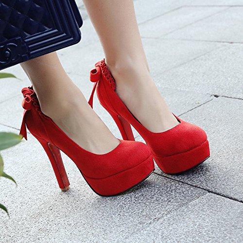 Mee Shoes Damen high heels mit Schleife runde Plateau Pumps Rot