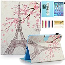 iPad Air 2 Case, iPad 6 Case, Dteck(TM) Pretty Cute Cartoon Flip Smart Kickstand Case with {Auto Sleep Wake} Premium Synthetic Leather Magnetic Wallet Cover for Apple iPad Air 2-Pink Eiffel Tower