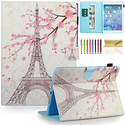 iPad Air 2 Case, iPad 6 Case, Dteck(TM) Pretty Cute Cartoon Flip Smart Kickstand Case with {Auto Sleep Wake} Premium Synthetic Leather Magnetic Wallet Cover for Apple iPad Air 2-Pink Eiffel (Pretty Cartoon Girls)
