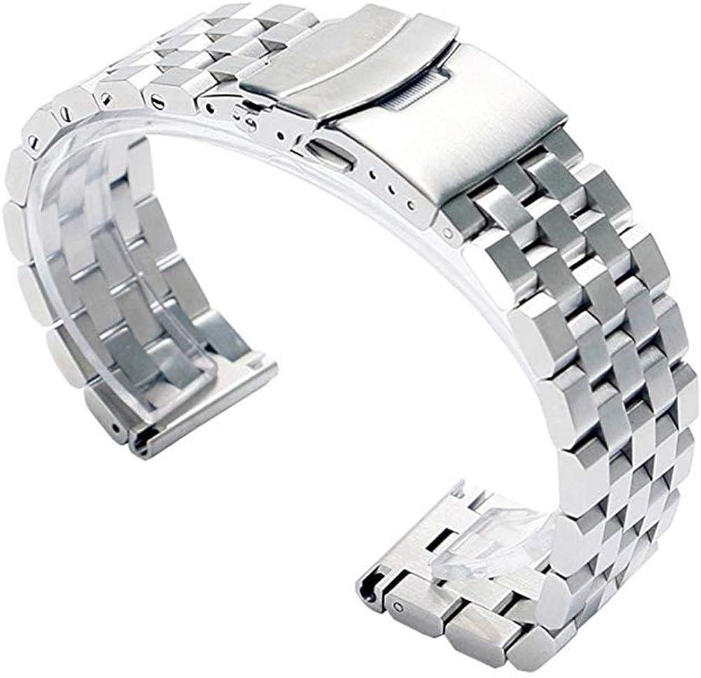 YISUYA - Correa de acero inoxidable para reloj de pulsera para hombre, ancho de 22mm, con cierre doble de hebilla, color plateado