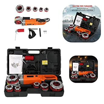 Pipe Threading Machine Portable Handheld Electric Pipe Threader with 6 Dies US Plug