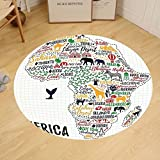 Gzhihine Custom round floor mat Quote Colorful Lettering of African Countries in Africa Continent with Animals Art Print Bedroom Living Room Dorm Multicolor