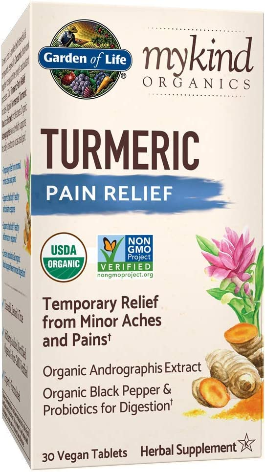 Garden of Life mykind Organics Turmeric Pain Relief 30 Tablets - 50mg Curcumin (95% Curcuminoids), Andrographis, Black Pepper & Probiotics - Organic, Non-GMO, Vegan & Gluten Free Herbal Supplements