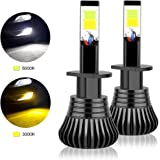 H1 LED Fog Light Bulbs, Dual Color with COB Chips Super Bright Replacment of Car DRL or Fog Lights Two Color Option, 3000K Yellow Amber 6000K Xenon White