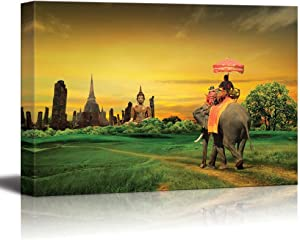 wall26 - Canvas Prints Wall Art - Sunset Thai Countryside Thailand   Modern Wall Decor/Home Decoration Stretched Gallery Canvas Wrap Giclee Print. Ready to Hang - 16