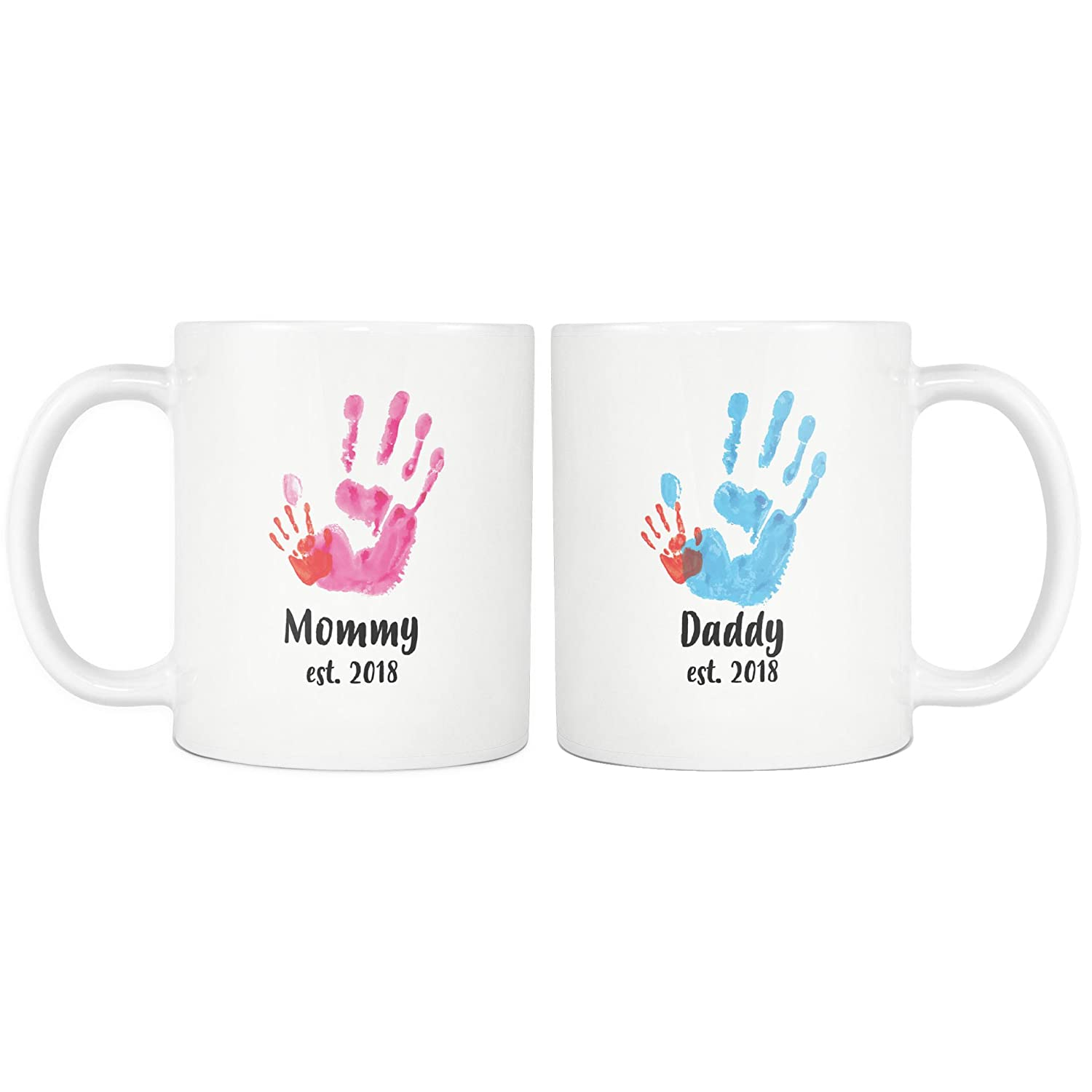 New Mommy and Daddy Mug Set - New Mom and Dad Matching Mugs - Mom Dad Est 2018 Mugs - Baby Shower Gift - 11oz Coffee Mugs Cups by Monkey Duo