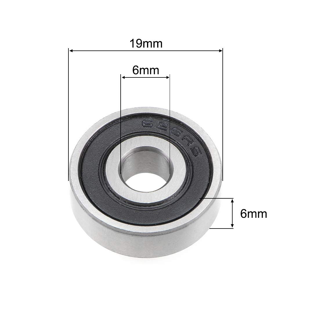 sourcing map 683-2RS Deep Groove Ball Bearing 3x7x3mm Double Sealed ABEC-3 Bearings 5-Pack