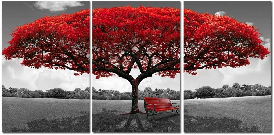 Red Tree Canvas Wall Art - Abstract Flame Tree Wall Decor Black White Picture Prints - Triptych Maple Nature Artwork for Living Room Decor (RED, XXL)