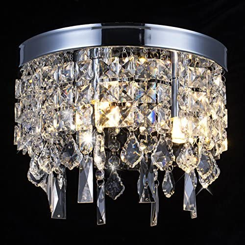FLOODOOR Crystal Chandelier Lamp, Modern Flush Mount Ceiling Light, Pendant Ceiling Lamp for Banquet Hall, Hotel Lobby, Restaurant, Hallway, Bar, Dining Room, Bedroom, Stairwells, W9.8 X H7.9 3 Light