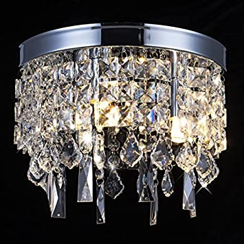 Crystal Chandelier Lamp, Modern Flush Mount Ceiling Light, Pendant Ceiling Lamp for Banquet Hall, Hotel Lobby, Restaurant, Hallway, Bar, Dining Room, Bedroom, Stairwells, W9.8 X H7.9 3 Light